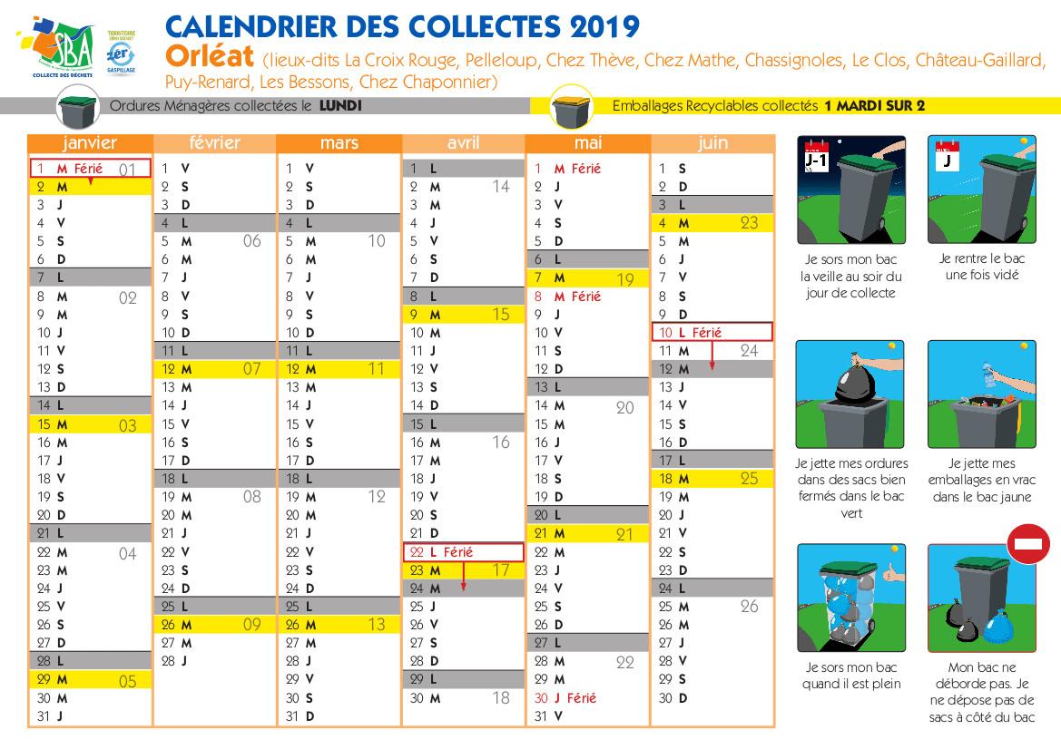 Calendrier des collectes 2019 - Orléat Autres quartiers