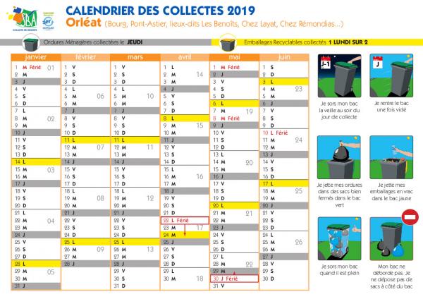Calendrier des collectes 2019 - Orléat Bourg